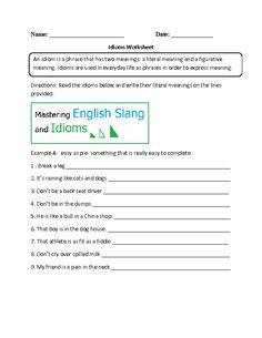 Idioms Worksheet Intermediate
