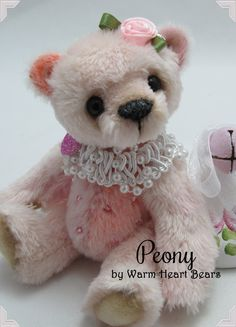 Peony - a handcrafted one-of-a-kind Artist Bear created by Carolyn Robbins at Warm Heart Bears