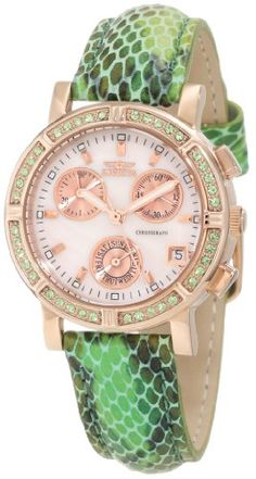 Invicta Womens 10312 Wildflower Chronograph MotherOfPearl Dial Green Crystal Accented Watch -- See this great product.