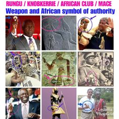 Whether with Ancient Egyptians or with Nguni Bantu kings and Presidents or with the south Nilotic kalenjin Kenyan President Daniel arap Moi. The Rungu/Knobkerry /Mace remains the African symbol of Authority. Usually it is made of special wood. Sometimes fitted with metal, ivory or stone mace head. Egyptian Jewelry, Egyptian Art, African Symbols, Egyptian Costume, Hidden Face, Egyptians, Ancient Egypt, Black History, Closer