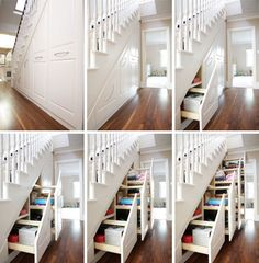 Cool options for under stair storage.