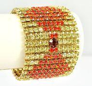 Vintage Bracelet MARIE FERRA Wide 1980s Yellow Orange Goldtone Bridal Jewellery