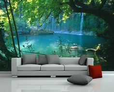 "Bilderdepot24 Fototapete Photo Wallpaper mural ""waterfall"" 230x150 cm - Made in Germany! Wall sticker: Amazon.co.uk: DIY & Tools"