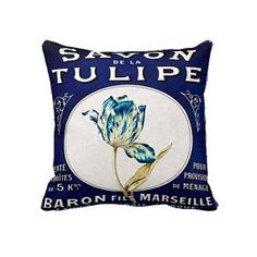 Pillow+Cover+Blue+Tulip+French+Label+Cotton+and+by+JolieMarche,+$35.00