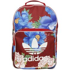 Adidas Originals By Farm Women Flower Printed Nylon Backpack (58 AUD) ❤ liked on Polyvore featuring bags, backpacks, floral-print backpacks, floral bags, floral rucksack, red nylon bag and adidas originals