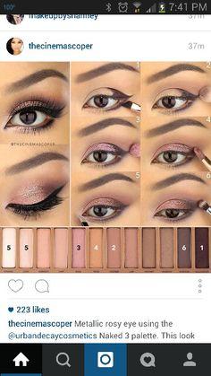 Naked 3 - Eye Makeup Tutorials and Tips Makeup 101, Skin Makeup, Makeup Looks, Nude Eyeshadow, Eyeliner, Naked 3 Palette Looks, Maquillage Urban Decay, Make Up Tutorials, Formal Makeup