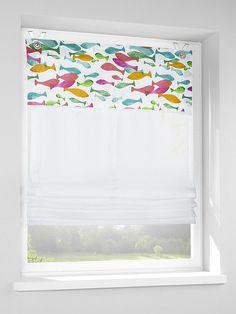 Raffrollo mit schöner Blende. Blende mit tollem Fisch-Motiv. Mit Haken und Ösen. Materialzusammensetzung: Obermaterial: 50% Baumwolle, 50% Polyester...