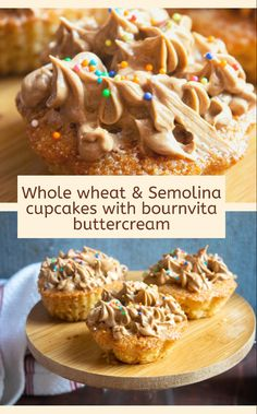 Moist, soft and eggless cupcakes topped with luscious and rich bournvita buttercream  #cupcakes #eggless #egglesscupcakes #semolina #semolinacake #maltbuttercream #buttercream #dessert Dark Chocolate Cupcakes, Like Chocolate, Buttercream Cupcakes, Vanilla Cupcakes, How To Make Cake, Food To Make, Easy Desserts, Dessert Recipes, Vegetarian Types