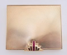 Vintage Retro Tiffany Co 14k Yellow Gold Ruby Compact