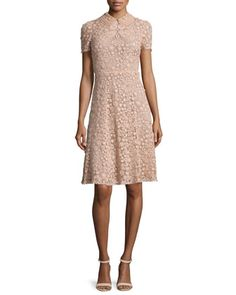 Short-Sleeve Macrame Dress, Nude by RED Valentino at Neiman Marcus.