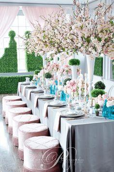 Lovely garden-inspired pink detail wedding reception; Via Rachel A. Clingen Wedding & Event Design