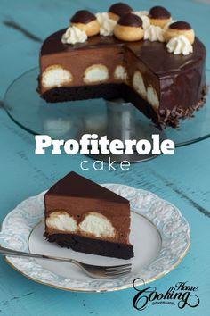 Gâteau profiteroles chocolat - This Profiterole Cake is a rich decadent impressive dessert that will satisfy both chocolate and profiterole lovers. Chocolate Cheese, Chocolate Cake, Cupcake Cakes, Cupcakes, Cake Recipes, Dessert Recipes, Cocoa Brownies, Impressive Desserts, Kinds Of Desserts