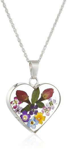 Sterling Silver Multicolor Pressed Flower Heart Pendant Necklace >>> Click on the image for additional details.
