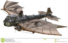 fantasy-retro-airship-d-render-37376127.jpg (1300×838)  What I picture a Steampunk Spelljammer ship to look like.