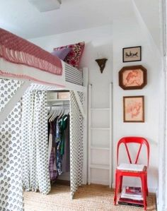 6 Tips for Dorm rooms - loft bed with curtains.   Also painting the wooden loft a light color would make the room look bigger.