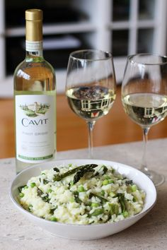 Spring Vegetable Risotto and Cavit Pinto Grigio - Lake Shore Lady #NationalPinotGrigioDay