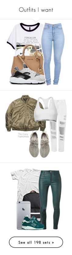 """Outfits I want"" by ednuur ❤ liked on Polyvore featuring beauty, H&M, Ray-Ban, NIKE, WearAll, adidas Originals, Calvin Klein, Herschel Supply Co., M.i.h Jeans and New Balance"