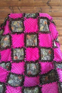 Realtree Camo Pink Minky Rag Quilt Baby Blanket Crib Girl   eBay
