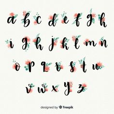 Beautiful alphabet with flowers Free Vec. Lettering Guide, Hand Lettering Tutorial, Hand Lettering Alphabet, Creative Lettering, Types Of Lettering, Lettering Styles, Bullet Journal Banner, Bullet Journal Writing, Bullet Journal Ideas Pages