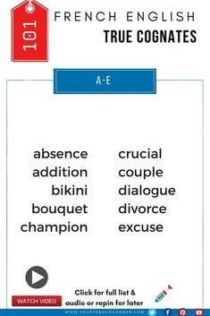 Vocabulary Booster: How to Learn 101 French words Instantly Bro, English French Dictionary, Learn French Online, French Language Learning, Learning French, Cognates, Study French, French Expressions, French Classroom