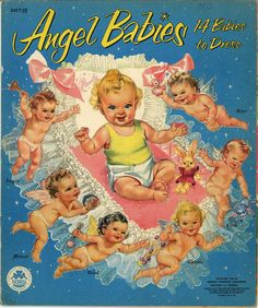"""""""Angel Babies"""", also called """"Heavenly Twins and Their Guardian Angels"""" by artist Louise Rumely. Vintage Ballet, Paper Dolls Book, Vintage Paper Dolls, First Class, Mattel Barbie, Childhood Toys, Childhood Memories, Baby Journal, Junk Journal"""