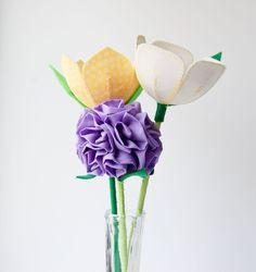 fabric flowers, tulips and hydrangea