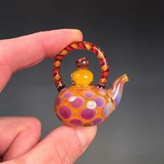 """""""Violet Sun"""" Miniature Teapot by Beau Barrett. Sold. Join our FB group """"Evolving Creations Lampwork"""" to watch for available work. #violet #sun #lampwork #miniature #teapot #tea #boro #boroofig #glass #glassofig #glassart #art #artglass #evolvingcreations"""
