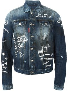 Dsquared2 hand painted denim jacket