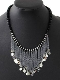 Black Star Pendant Chain Tassel Statement Necklace
