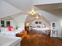 """Renovated """"Bungalow House"""" Master Bedroom (converted attic) - Nicole Curtis"""