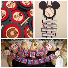 MICKEY BASEBALL Cupcake TOPPERS by YourPartyStore on Etsy