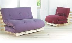 Fiji sofa bed has a folding pine base and a 6 layer futon mattress. The sofa bed has a modern, Japanese style. UK Made. Buy online. Free UK Delivery.