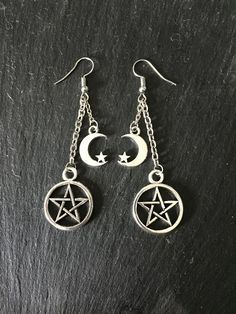 Earrings - Pentagram - Pentacle - Crescent Moon - Star - Chain - Wicca - Goth - New Age - Boho - Hippie - Folk - by Nattspinnas on Etsy