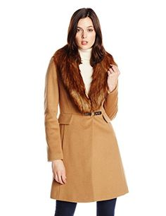 Ivanka Trump Women's Single Breasted Wool Coat with Removable Faux Fur Collar, Vicuna - http://www.womansindex.com/ivanka-trump-womens-single-breasted-wool-coat-with-removable-faux-fur-collar-vicuna/