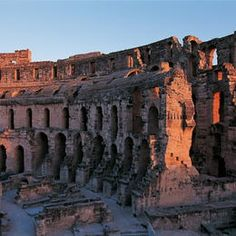 Amphitheatre of El Jem, Tunisia.  The impressive ruins of the largest colosseum in North Africa, a huge amphitheatre which could hold up to 35,000 spectators, are found in the small village of El Jem. This 3rd-century monument illustrates the grandeur and extent of Imperial Rome. UNESCO©Editions Gelbart / Jean-Jacques Gelbart