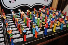 Candy Party Theme Ideas - Pez Dispensers Escort & Place Cards by Balloon Artistry - mazelmoments.com
