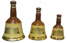 Wade Bells Whisky decanters 75cl, 37.5 cl, 18.75 cl and miniature