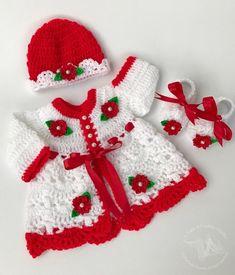 Crocheting Ideas For Handmade Accessories – 1001 Motiveideas Baby Girl Crochet, Crochet Baby Clothes, Crochet Shoes, Baby Girl Frocks, Baby Girl Dresses, Baby Dress, Dress Set, Baby Girl Christmas Dresses, Christmas Baby
