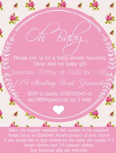 Pink baby shower invitation design by Very Cherry Design Studio Stationery Design, Invitation Design, Baby Shower Invitations, Rsvp, Cherry, Studio, Pink, Stationary Design, Shower Invitation
