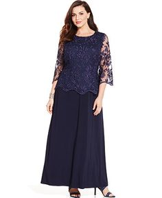 6cd6d16aea418 Alex Evenings Plus Size Illusion Lace-Sleeve Gown - Mother of the Bride -  Women