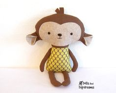 Monkey PDF Sewing Pattern Softie Stuffed Toy. $10.00, via Etsy.