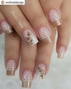 french nails classy Tips Elegant Nails, Classy Nails, Stylish Nails, Cute Acrylic Nails, Cute Nails, Gel Nails, Nail Nail, Pretty Nail Art, Beautiful Nail Art