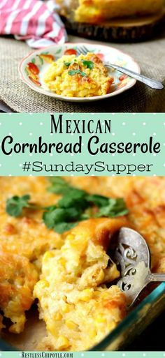 Cornbread Casserole Recipe with a Tex-Mex Twist Quick and easy,this Mexican cornbread casserole recipe is a Southern tradition during the holidays. Now updated with Southwestern flavors! Make ahead recipe. via at Restless Chipotle Easy Mexican Cornbread, Mexican Cornbread Casserole, Chili And Cornbread, Homemade Cornbread, Cornbread Recipes, Cornbread Mix, Enchilada Casserole, Bean Casserole, Easy Potluck Recipes
