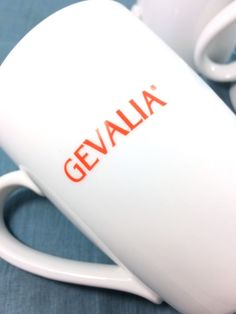 3 Gevalia White Coffee Mugs Cups Orange Lettering