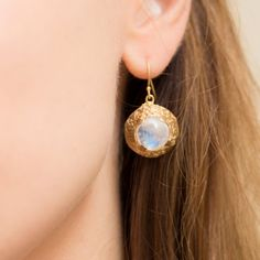 Moonstone Dome Earrings/ Gold Dangling by LanieLynnVintage on Etsy