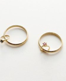"""A ring wants to wear a rign too"" by Akiko Kurihara. 2017. Gold, ruby, sapphire."