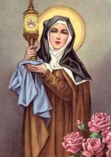 Saint Clare of Assisi, Patron Saint of Television and Santa Clara Pueblo, NM Francis Of Assisi, St Francis, Catholic Art, Catholic Saints, Catholic Churches, Roman Catholic, Patron Saints, Ste Claire, Saint Claire