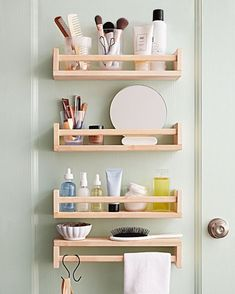 Get Organized with Spice Rack IKEA Hacks. This simple and inexpensive wooden rack can be used in so many different way… I think you will love them all! hacks bathroom storage Get Organized with Spice Rack IKEA Hacks Hacks Ikea, Organizing Hacks, Diy Hacks, Ikea Hack Bathroom, Bathroom Wall Storage, Bathroom Organization, Bathroom Ideas, Bathroom Mirrors, Budget Bathroom