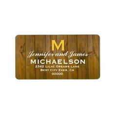 Rustic Wedding Monogram M Template V06 Personalized Address Labels  To see more Jaclinart rustic wedding, visit www.zazzle.com/... #rustic #wedding #fall #autumn #barn #lace #burlap