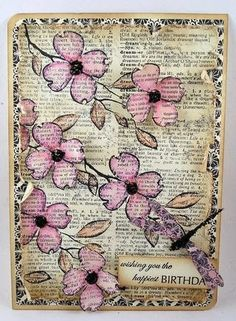idea for a card with reused dictionary paperthis beauty was a stamplike the transluscent look of the coloring on the top stamping of dogwood flowers Cards and crafts with upcycled paper
